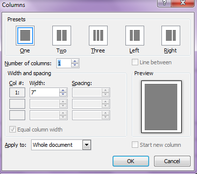 Insert Columns dialog box from Word