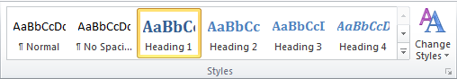 Styles available in Word