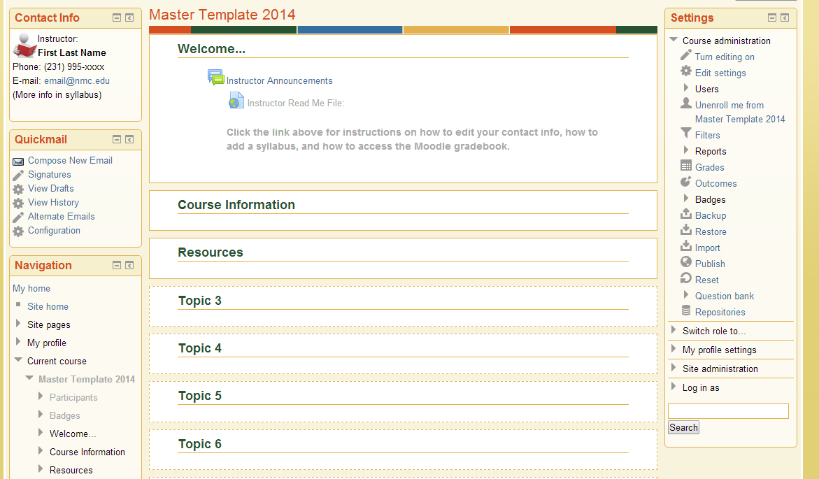 New to Moodle? Basic Template Available | teaching@NMC