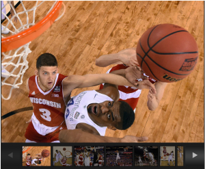 Image of Wisconsin beating Kentucky in bball for 2015 Final Four