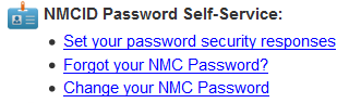Password Self Service Screen