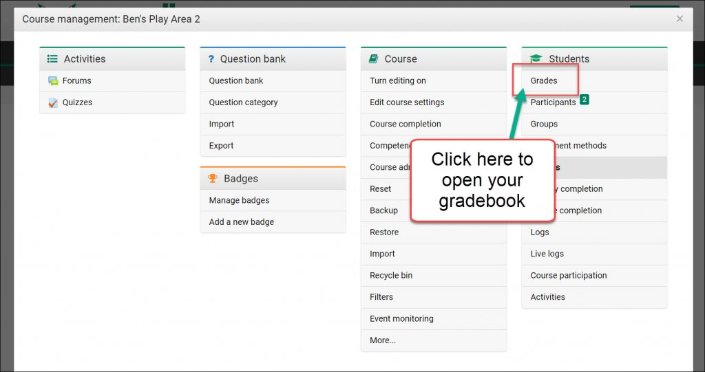 Accessing the Moodle Gradebook User Report