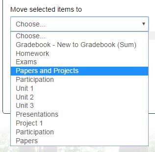 move selected items drop down menu