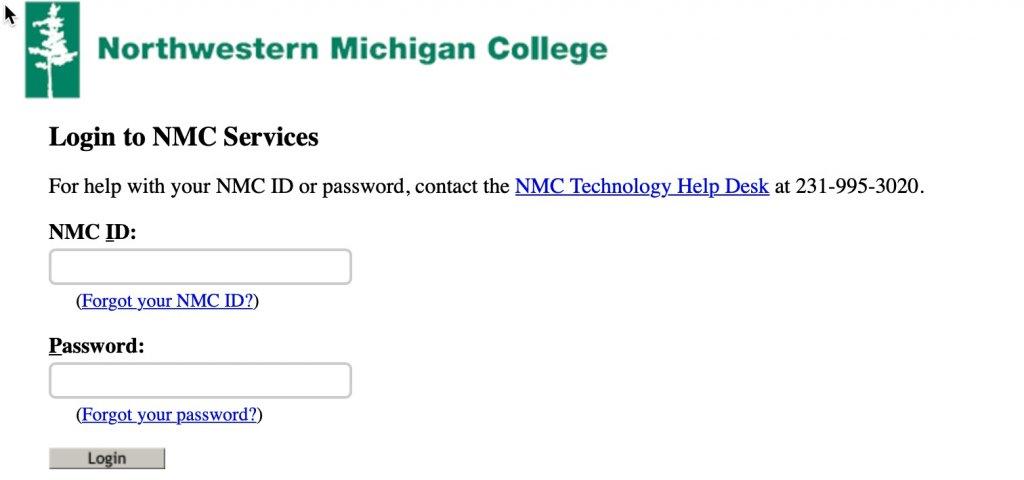NMC login screen