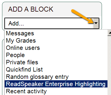 Using the ReadSpeaker Block in Moodle | teaching@NMC