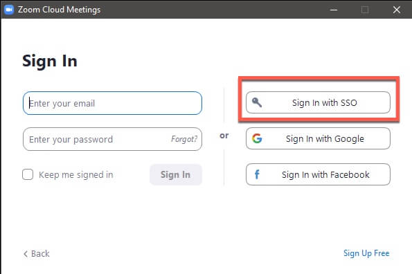 Click on Sign in with SSO
