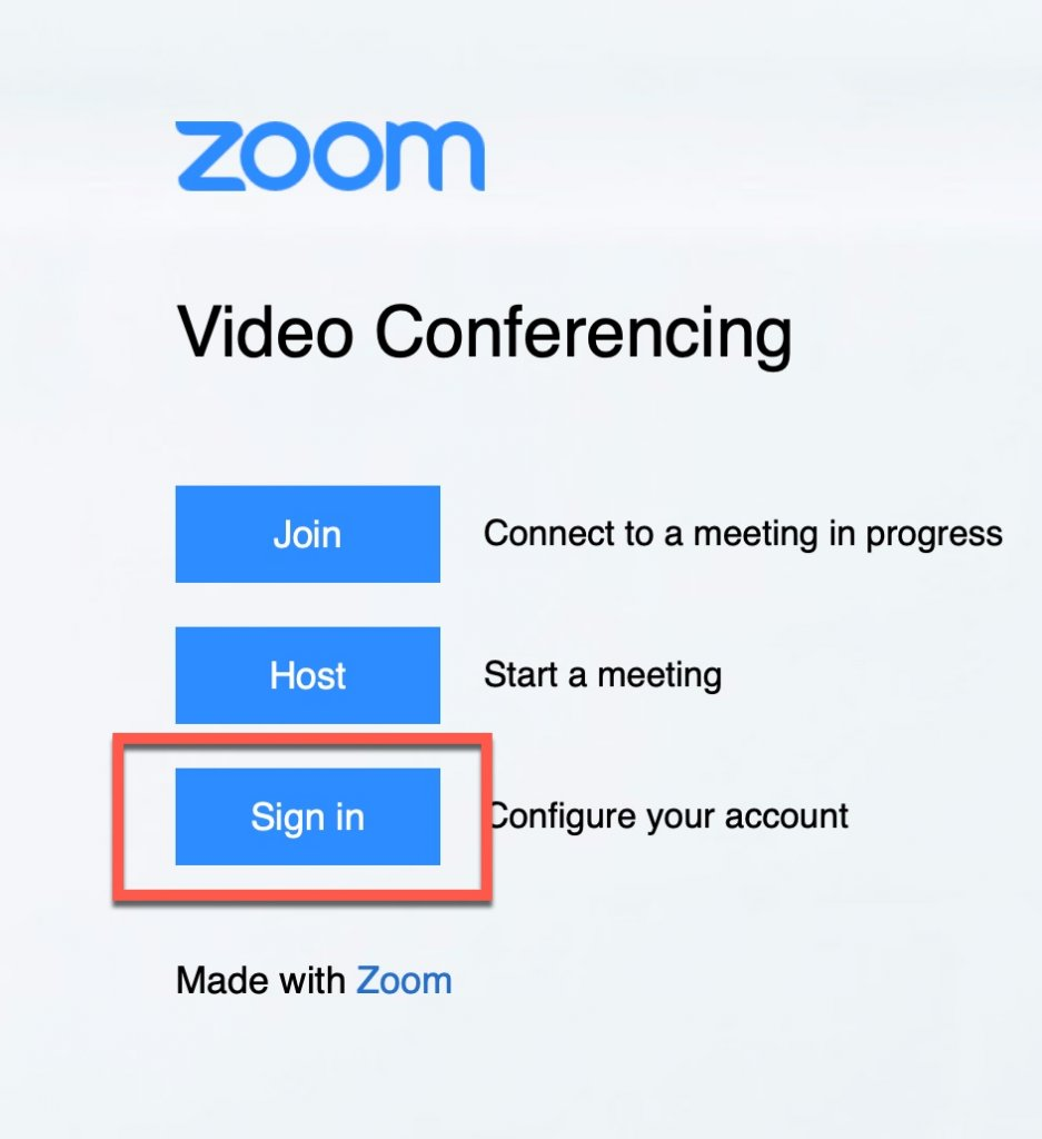 Zoom Sign In option