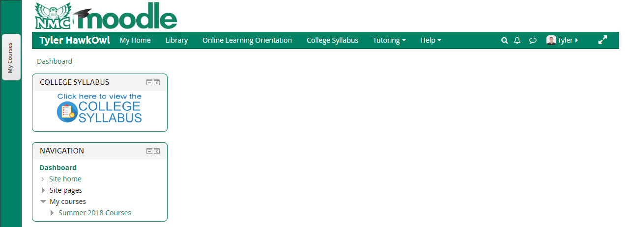 "Notice the ""My Courses"" area has been docked in the upper left corner of this page."