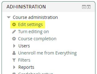 Administration > Edit Settings