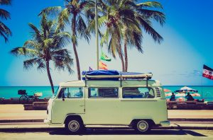 VW Bus by the beach