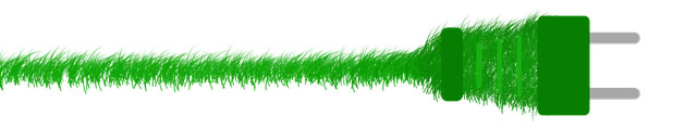 Green grass turns into an electrical plug
