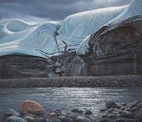 oil painting of glacier above rock beach above lake