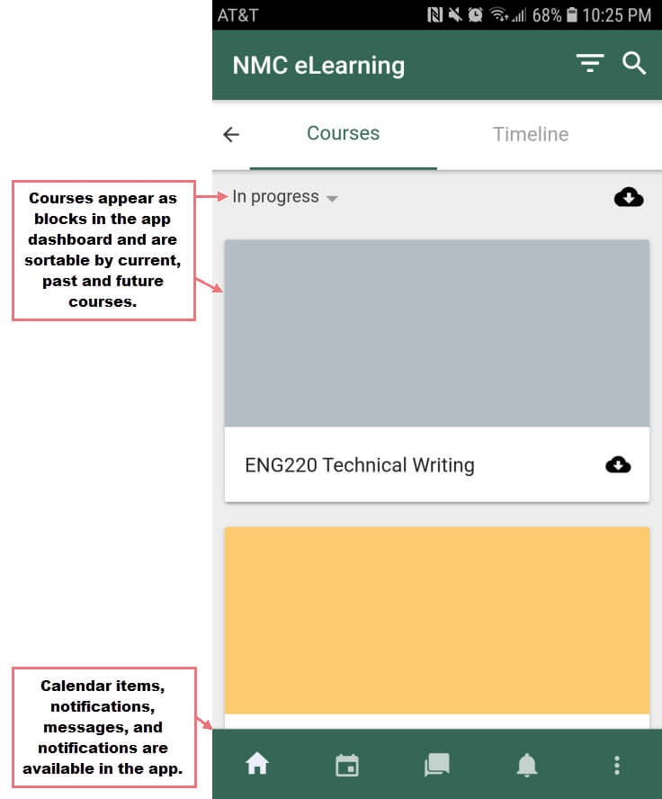 The Moodle mobile app dashboard.