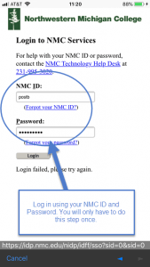 "Type in your NMC ID and Password and select ""Login."""