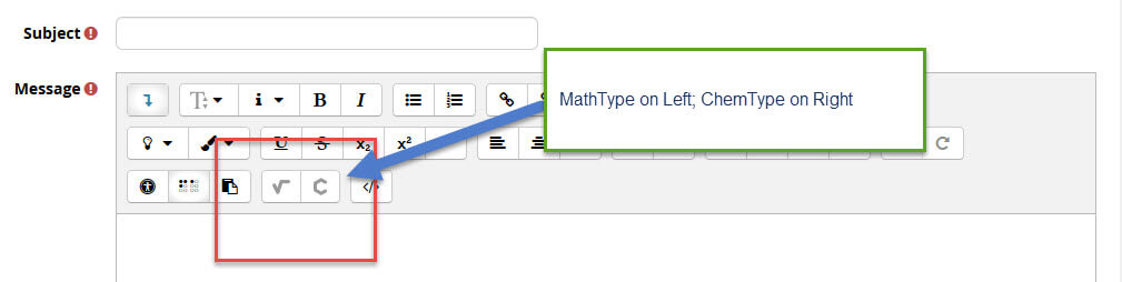 Located at the end of the ATTO editor text option buttons are MathType and ChemType. These plugins allow users to create mathematical and chemistry equations within Moodle.