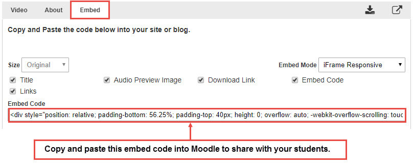 "Click on the ""Embed"" tab to copy the embed code."