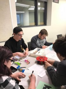 students working in groups