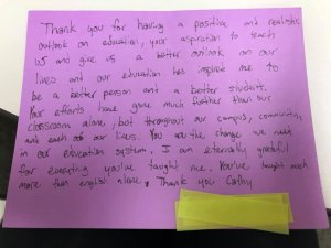 note from student