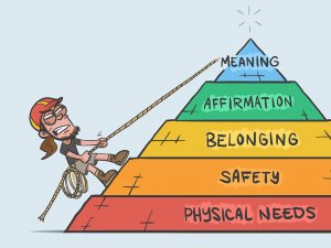 Comic drawing of mountain climber going up Maslow's pyramid
