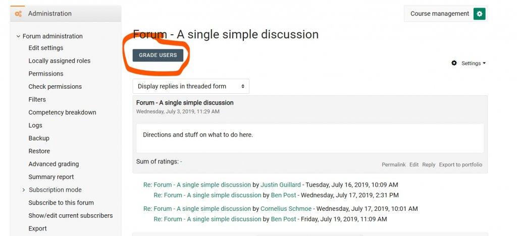 Forum Grading Button