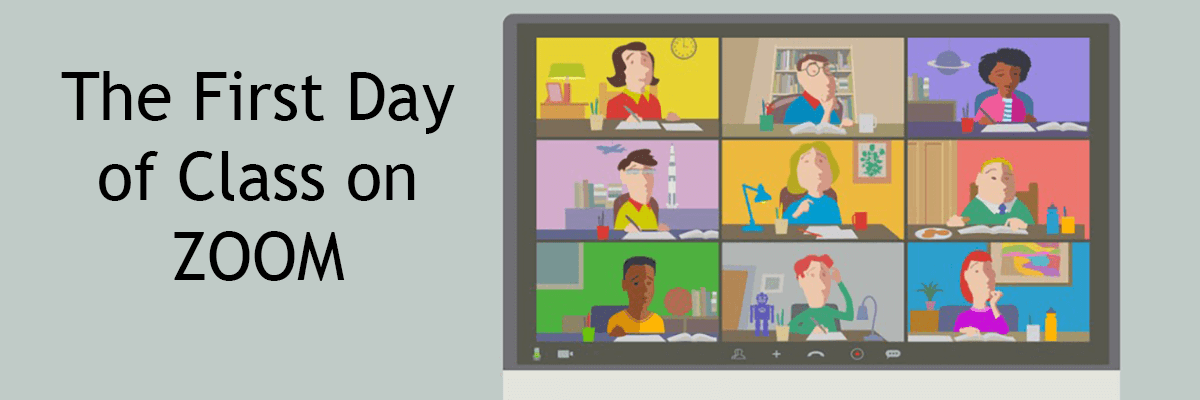 The First Day of Class on Zoom. Drawing of students on zoom.