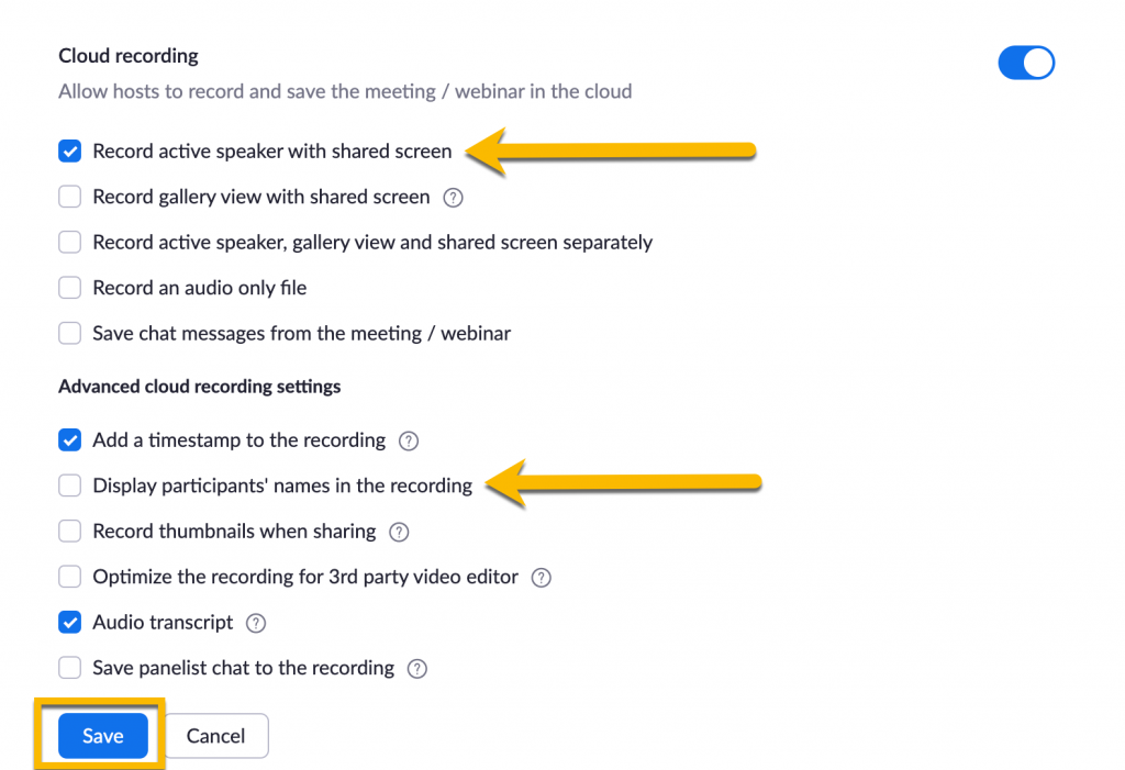 Zoom recording setting for Active Speaker and no participants' names