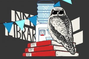 festive library owl by water cooler