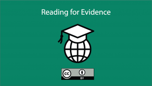 video thumbnail for 'Reading for Evidence'; includes CC-BY license logo